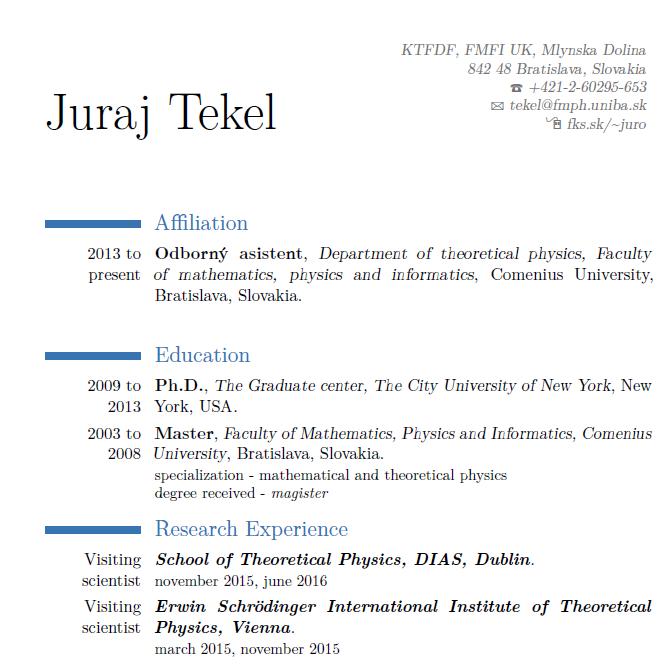 Juraj Tekel - FMFI UK